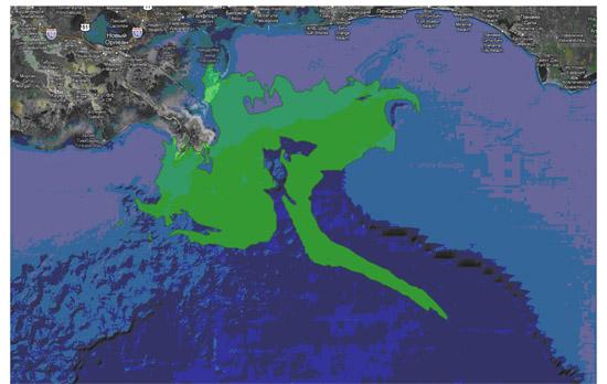 Область распространения нефтяного загрязнения на 24.05.2010 по данным NOAA (картографическая подложка Google) http://www.google.com/crisisresponse/oilspill/