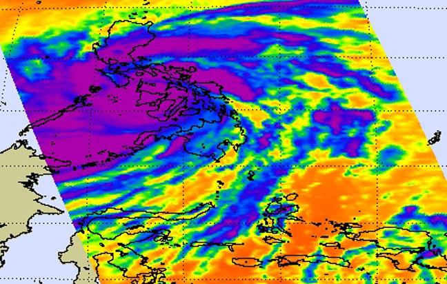 Космическое изображение тайфуна «Хайян», полученное 8 ноября 2013 г. в инфракрасном диапазоне спектра по данным спутника AQUA (аппаратура AIRS)